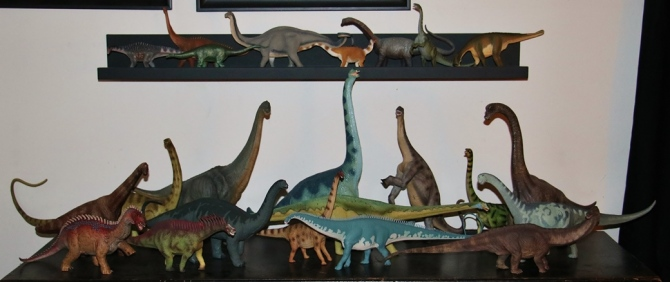 Can you spot Wild Safari's XL Apatosaurus on my Sauropod Shelf?